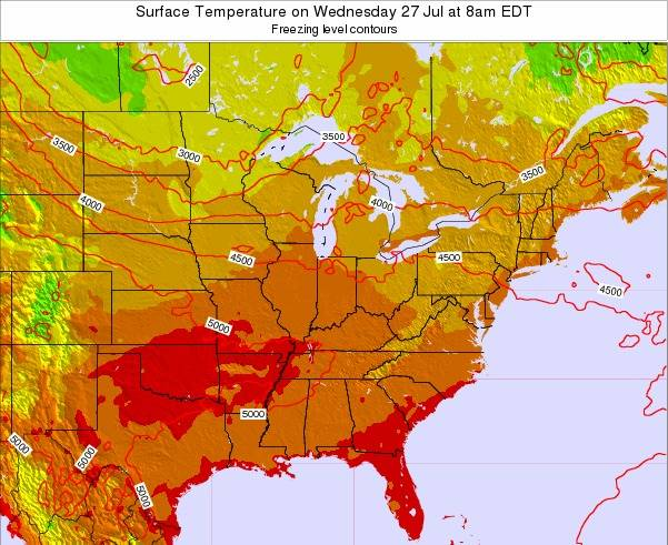 Kentucky Surface Temperature on Monday 27 May at 2pm EDT map