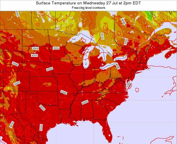 Indiana Surface Temperature on Saturday 26 Apr at 2pm EDT