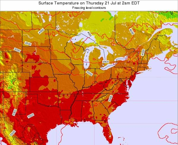 Indiana Surface Temperature on Monday 16 Dec at 7pm EST
