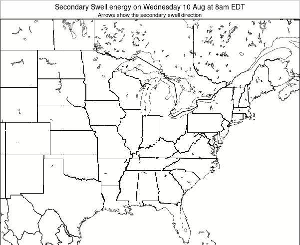 Indiana Secondary Swell energy on Monday 27 May at 8pm EDT