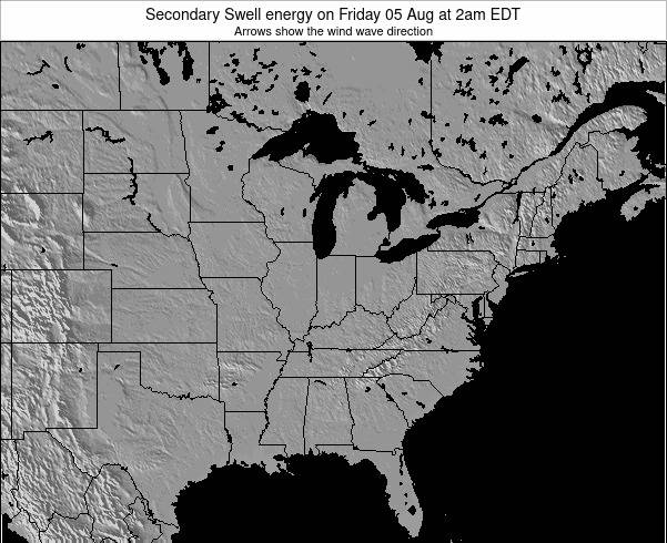 Indiana Secondary Swell energy on Tuesday 05 Aug at 2am EDT