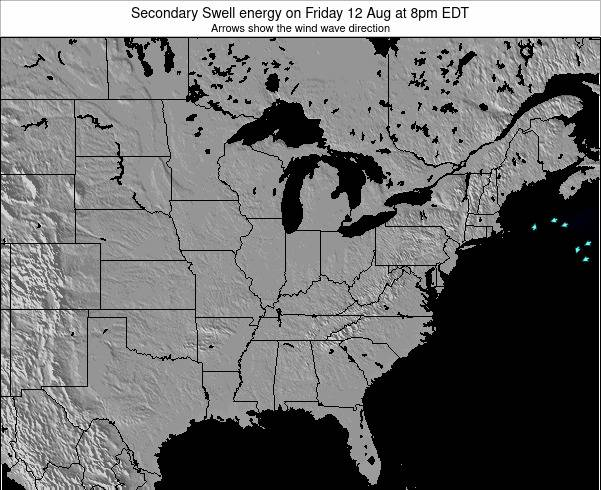 Indiana Secondary Swell energy on Sunday 22 Jan at 1am EST