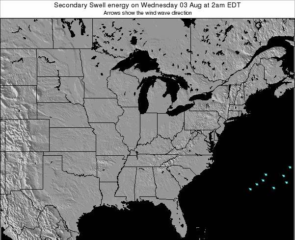 Indiana Secondary Swell energy on Sunday 26 May at 2am EDT