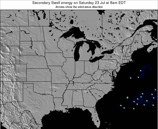 Indiana Secondary Swell energy on Tuesday 27 Feb at 7am EST map