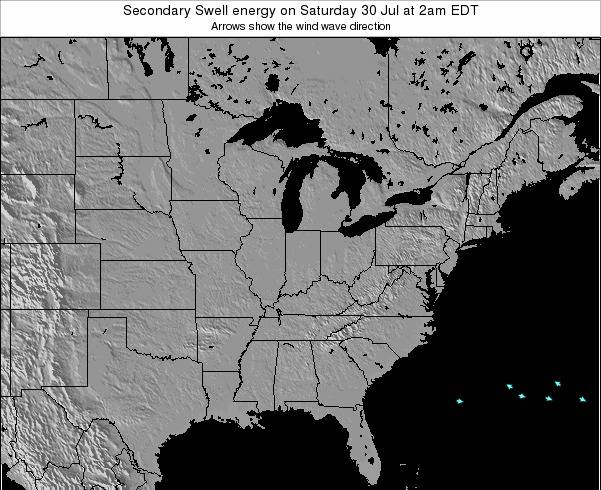 Indiana Secondary Swell energy on Thursday 30 Oct at 8pm EDT