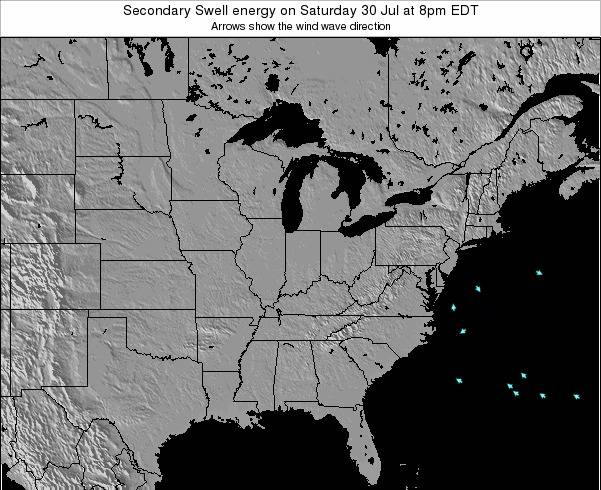 Indiana Secondary Swell energy on Tuesday 13 Dec at 1pm EST