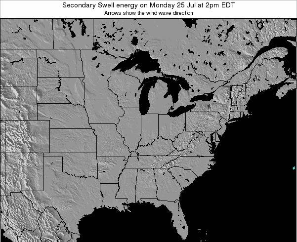 Indiana Secondary Swell energy on Thursday 13 Mar at 7pm EST