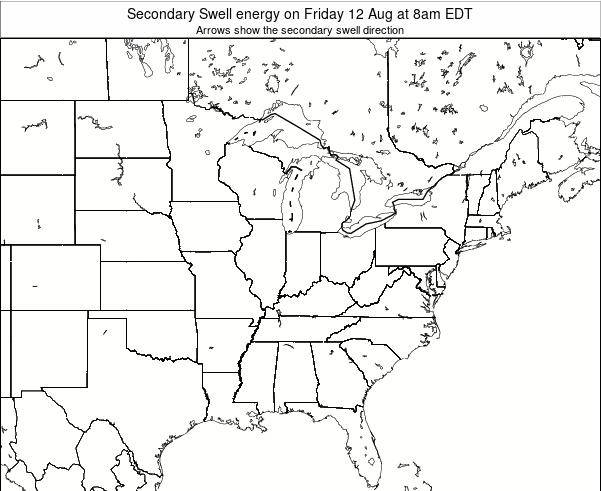 Indiana Secondary Swell energy on Sunday 02 Aug at 2pm EDT