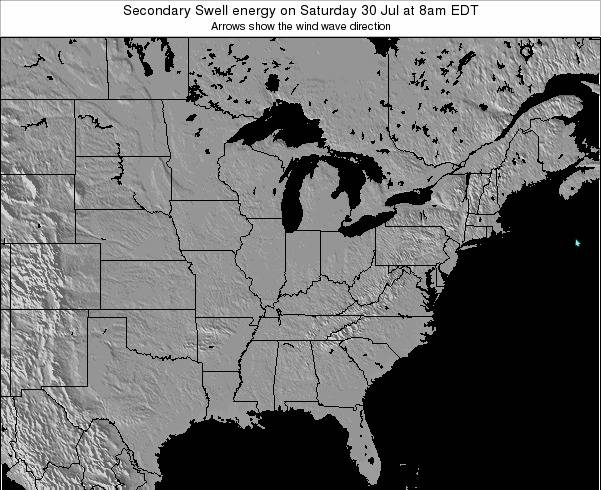 Indiana Secondary Swell energy on Wednesday 06 Aug at 2pm EDT