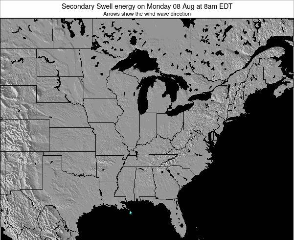 Indiana Secondary Swell energy on Wednesday 30 Jul at 2pm EDT