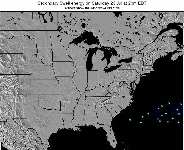Indiana Secondary Swell energy on Wednesday 23 Apr at 8am EDT