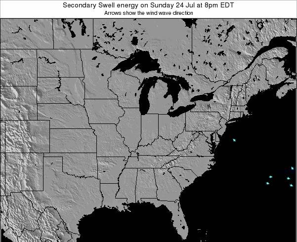 Indiana Secondary Swell energy on Tuesday 29 Jul at 2pm EDT