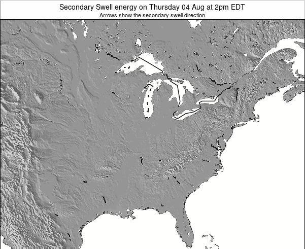 Indiana Secondary Swell energy on Thursday 05 Mar at 1pm EST