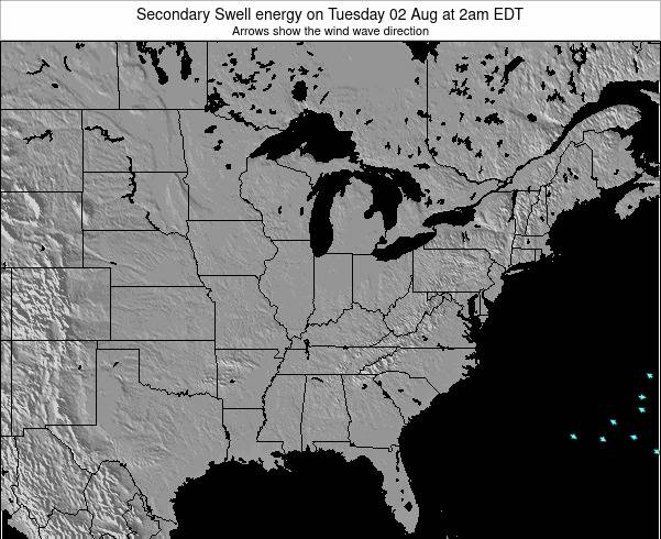 Indiana Secondary Swell energy on Thursday 12 Dec at 1pm EST