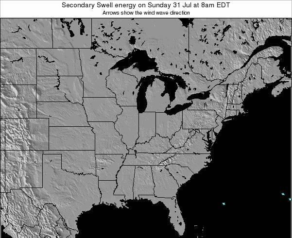 Indiana Secondary Swell energy on Friday 01 Aug at 8pm EDT