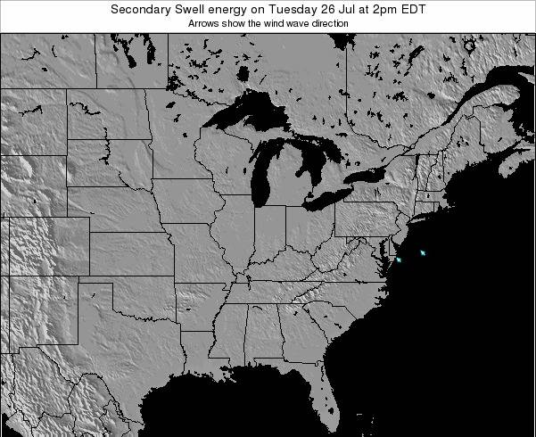 Ohio Secondary Swell energy on Tuesday 11 Mar at 2am EDT