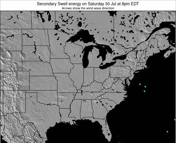 Indiana Secondary Swell energy on Monday 29 May at 8pm EDT