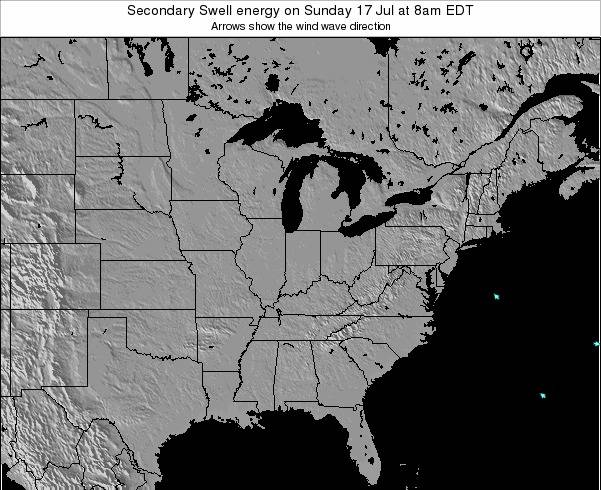 Indiana Secondary Swell energy on Wednesday 22 May at 8am EDT