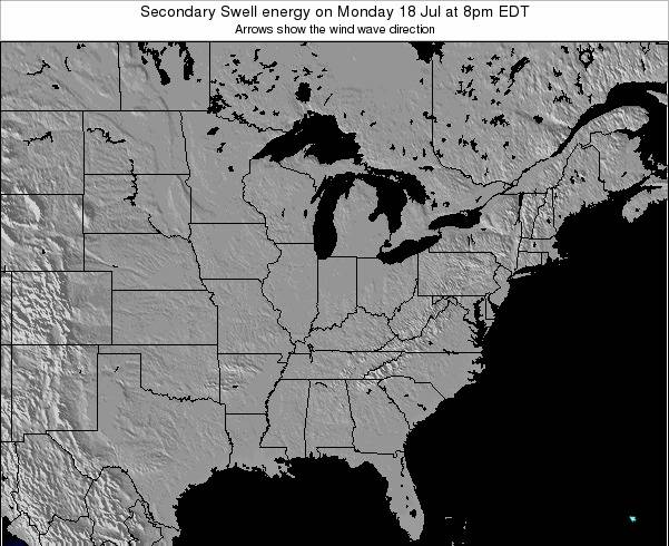Indiana Secondary Swell energy on Saturday 15 Mar at 2pm EDT