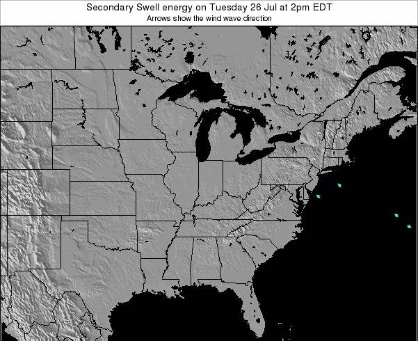 Indiana Secondary Swell energy on Monday 28 Jul at 2pm EDT