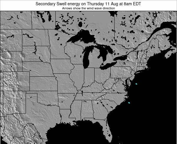 Indiana Secondary Swell energy on Thursday 13 Mar at 2pm EDT