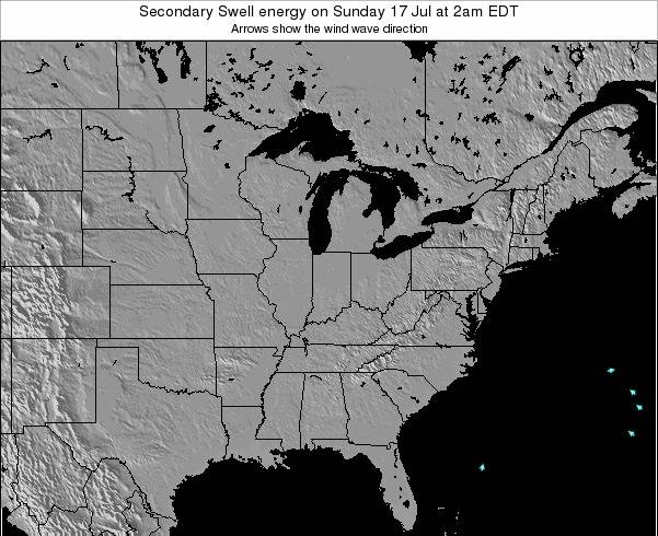 Indiana Secondary Swell energy on Thursday 24 Apr at 8pm EDT