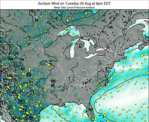 Ohio Surface Wind on Monday 27 May at 2pm EDT