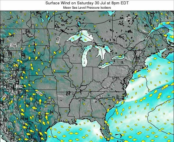 Indiana Surface Wind on Tuesday 25 Jun at 8am EDT map