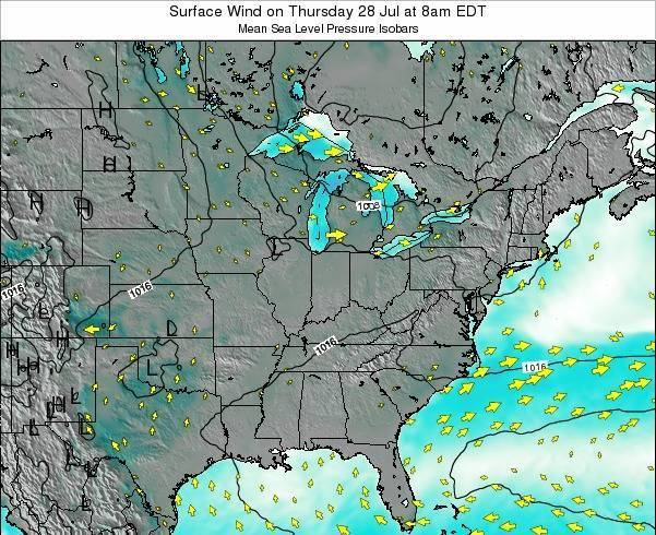 Indiana Surface Wind on Tuesday 18 Jun at 2pm EDT map