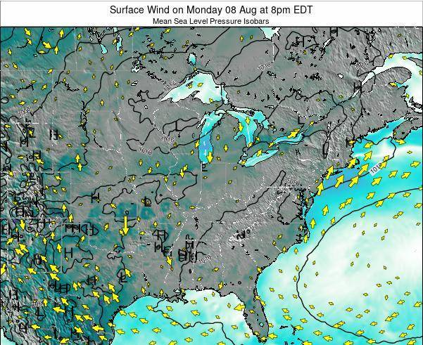 Ohio Surface Wind on Saturday 25 May at 2am EDT