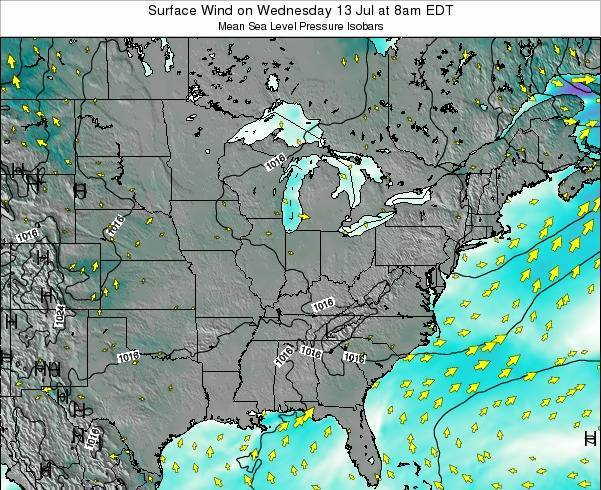Ohio Surface Wind on Friday 24 May at 2am EDT