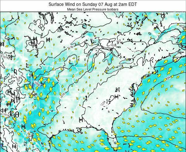 Indiana Surface Wind on Sunday 26 May at 2pm EDT map
