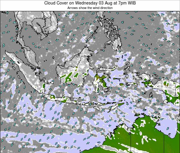 Indonesia Cloud Cover on Wednesday 17 Feb at 1am WIB