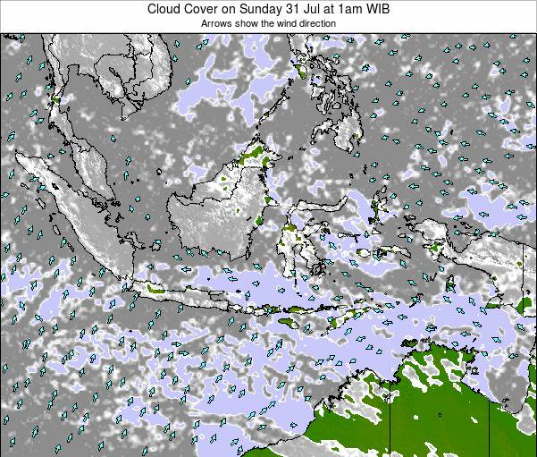 Christmas Island Cloud Cover on Thursday 19 Dec at 7am WIT map