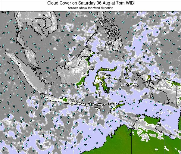 Indonesia Cloud Cover on Friday 14 Mar at 1am WIT