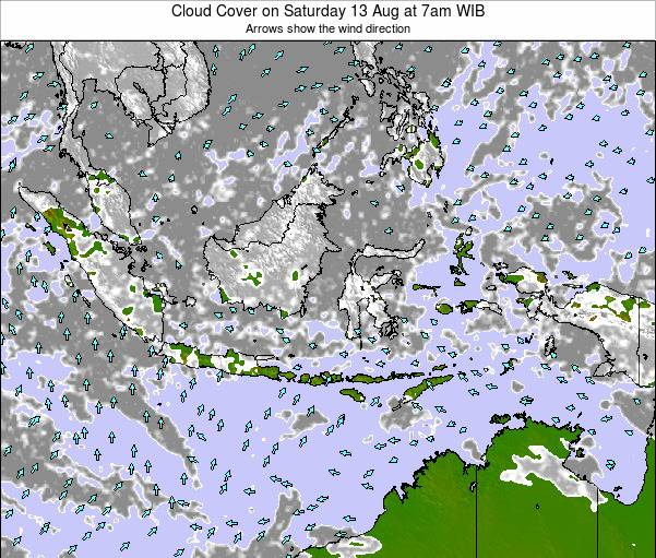 Christmas Island Cloud Cover on Friday 14 Mar at 7am WIT map