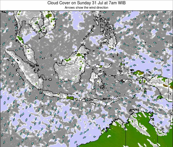Christmas Island Cloud Cover on Wednesday 30 Jul at 7am WIT map