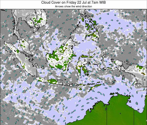 Indonesia Cloud Cover on Thursday 31 Jul at 1pm WIT