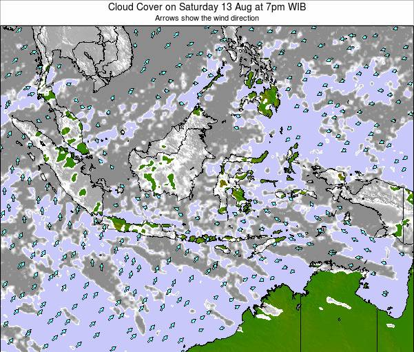 Indonesia Cloud Cover on Wednesday 23 Apr at 1pm WIT