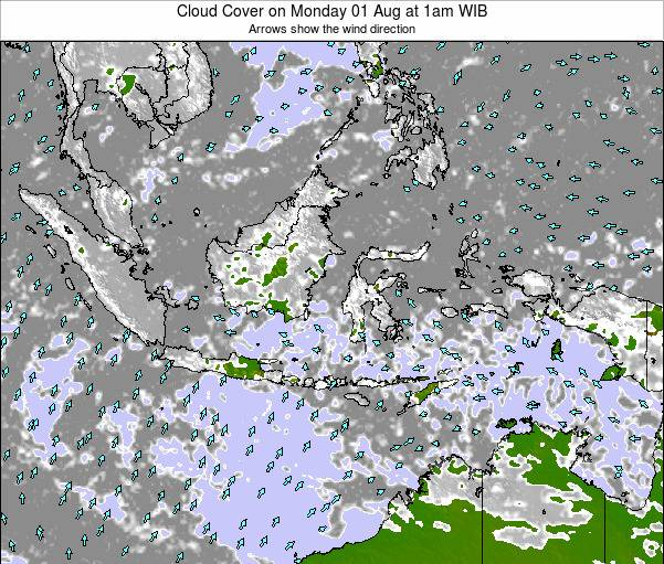 Indonesia Cloud Cover on Tuesday 02 Aug at 1am WIB