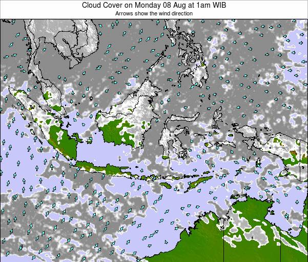 Indonesia Cloud Cover on Tuesday 18 Sep at 7pm WIB map