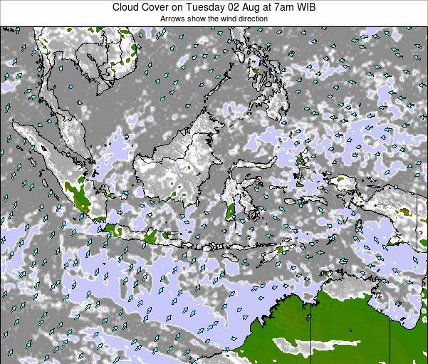 Indonesia Cloud Cover on Saturday 23 Jun at 1am WIB map