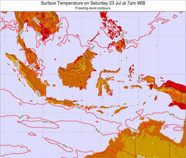 EastTimor Surface Temperature on Tuesday 25 Jun at 1pm WIT