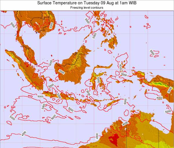 Christmas Island Surface Temperature on Tuesday 25 Jun at 1pm WIT map