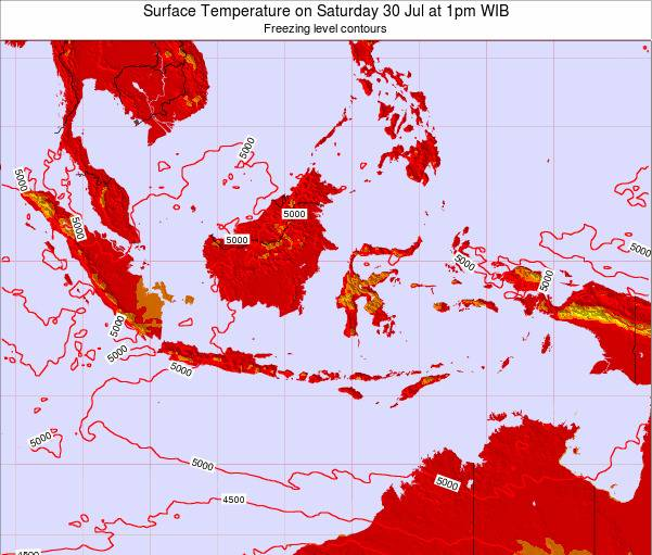 Indonesia Surface Temperature on Tuesday 28 May at 1am WIT