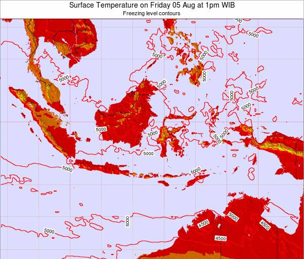 Indonesia Surface Temperature on Saturday 25 May at 1pm WIT