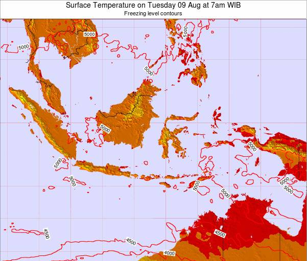 Indonesia Surface Temperature on Wednesday 18 Dec at 1am WIT