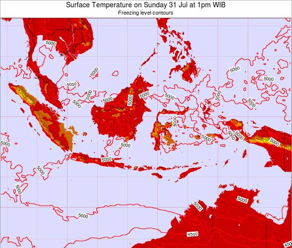Indonesia Surface Temperature on Sunday 27 Apr at 1pm WIT