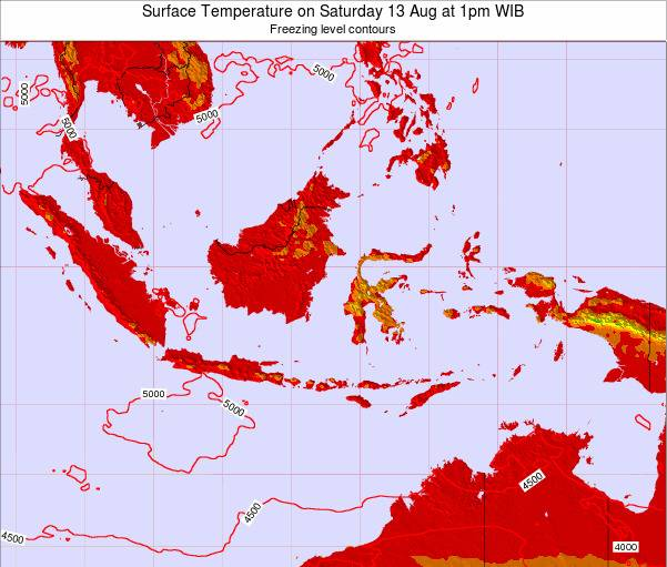 Indonesia Surface Temperature on Monday 04 Aug at 1am WIT