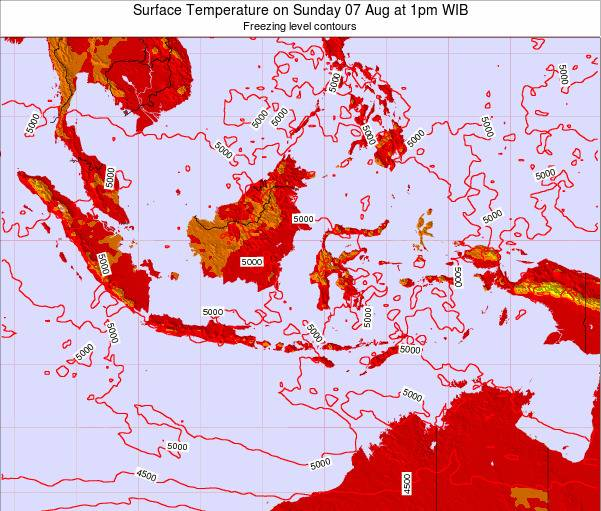 Indonesia Surface Temperature on Thursday 31 Jul at 7am WIT